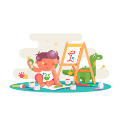 little kid painting picture on easel vector image