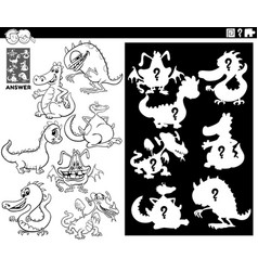 Matching shapes game with dragons color book vector