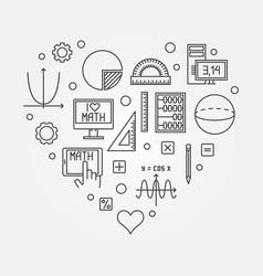 math heart creative in line vector image
