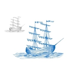 Medieval sail ship in ocean waves vector image