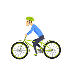 men riding bicycle with bicycle and boy in vector image