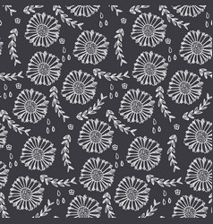 monochrome floral pattern with flowers and herbs vector image