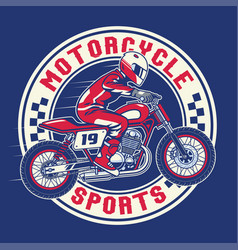 motorcycle racing badge design vector image