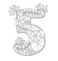 Number 5 coloring book for adults vector