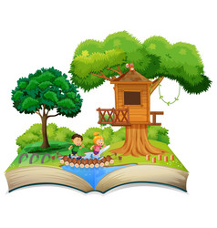 Open book children in nature theme vector