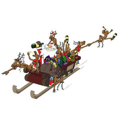 Party christmas cartoon sleigh ride vector