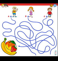 Paths maze game with children and fruits vector