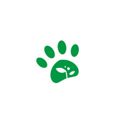 pet paw leaf sprout growth logo icon vector image