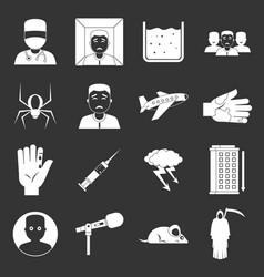 Phobia symbols icons set grey vector
