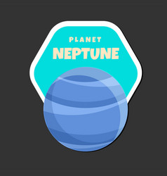 planet neptune design hexagon frame background vec vector image
