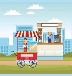 Pop corn cart cartoon vector