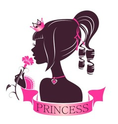 Portrait of a Princess with flower vector image