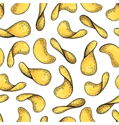 Potato chips seamless pattern Hand drawn vector image