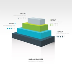 Pyramid cube infographic side view 4 color vector