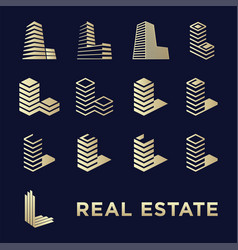 real estate logotype set or abstract buildings vector image