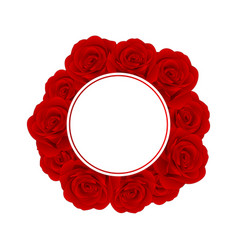 red rose banner wreath vector image