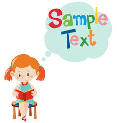 sample text template with girl reading vector image