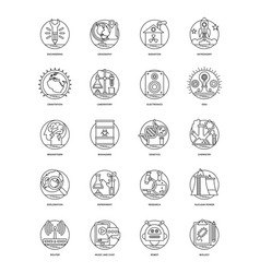science and technology line set vector image