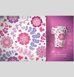 Seamless floral background fantasy flowers vector