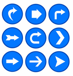 Set - arrows in blue circles vector