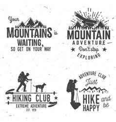 set extreme adventure badges vector image