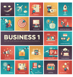 Set modern flat design business infographics vector