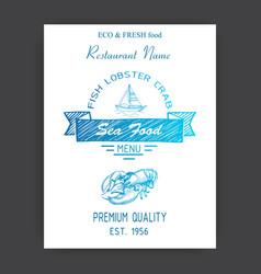sketch sea food restaurant vector image