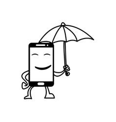 smiling smart phone hold umbrella vector image