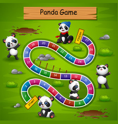 Snakes and ladders game panda theme vector