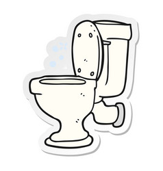 Sticker of a cartoon toilet vector