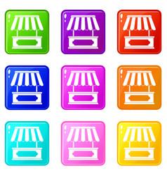 street kiosk icons 9 set vector image