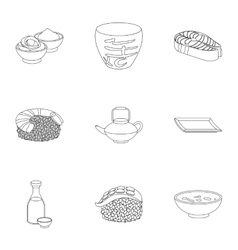 Sushi set icons in outline style Big collection vector