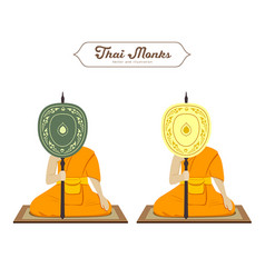 Thai monks holding talipot fan collections vector