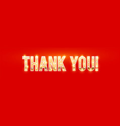 thank you gold sign with light bulbs and shining vector image