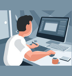 the designer draws on the tablet vector image