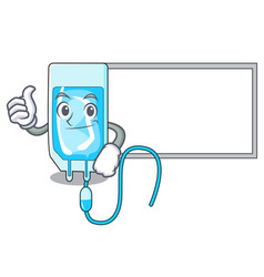 Thumbs up with board infussion bottle character vector