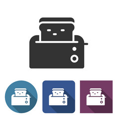 toaster icon in different variants with long vector image