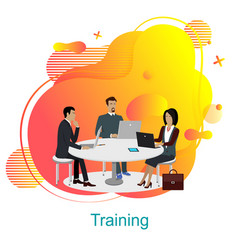Training business team office workers table vector