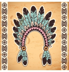 Tribal native American feather headband vector image