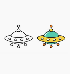 ufo icon unknow flying object cartoon linear vector image