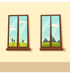 View from the windows cartoon vector