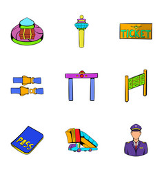 voyage icons set cartoon style vector image