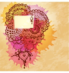 watercolor abstract design with doodle heart vector image