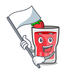With flag strawberry mojito mascot cartoon vector