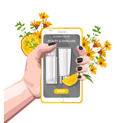 Woman hand holding smart phone with organic vector