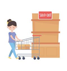Woman shopping with cart design vector