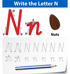 Write the letter n english card vector