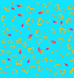 Yellow hearts arrows love word seamless pattern vector