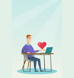 young man using a laptop online dating vector image
