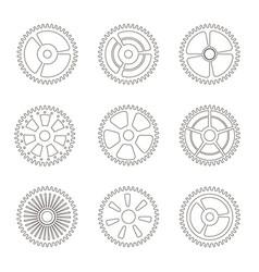 gears cogs wheels or sprocket line icon set vector image